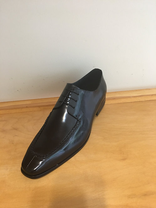 Black Woven Split Toe Leather Oxford