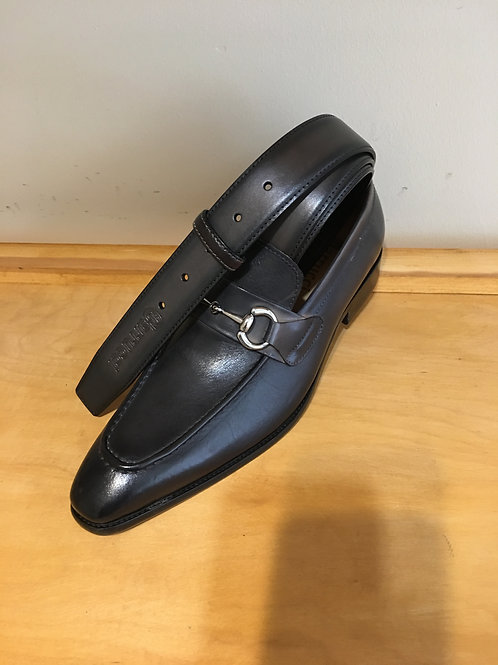 Grey Loafer with Horsebit Hardware
