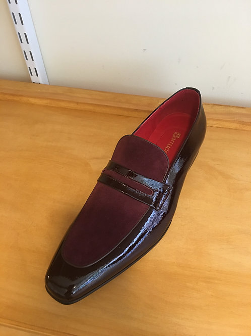 Burgundy Suede/Patent Leather Loafer