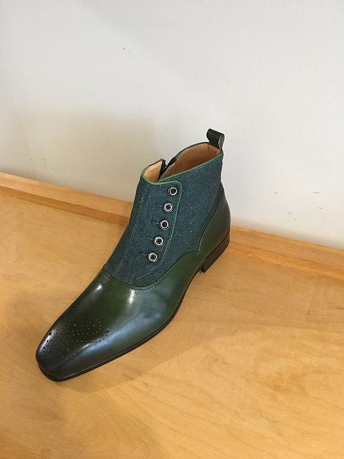 Olive Denim Zip Boot