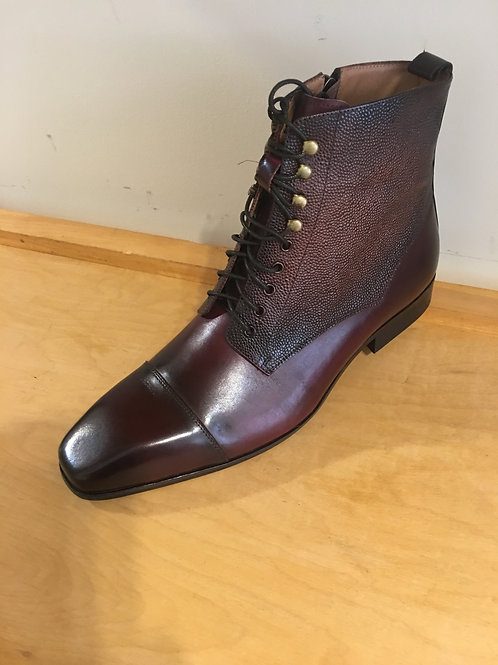 Burgundy Leather Lace Up Boot