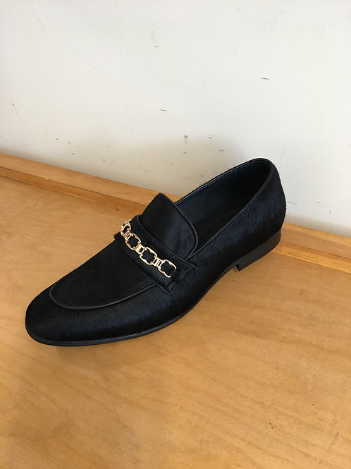 Black Pony Skin/Chain Buckle Loafer