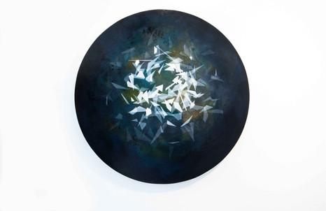 Thomas Scalco, Senza titolo, 2017, tecnica mista su tavola, ø cm 70