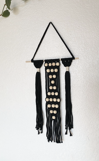 Wooden Bead Black Wall Hanging