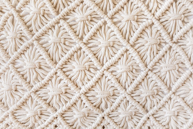 Close-up of hand made macrame texture pa