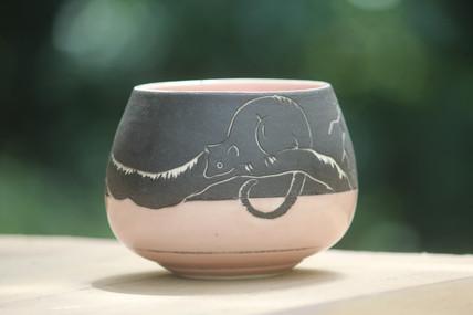 muddy girl studio, Claire Johnson, sgrafitto possum pink,