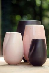 altered vase dusky pink, chocolate