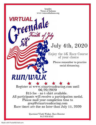 Virtual 2020 Greendale 4th of July 5K Fl