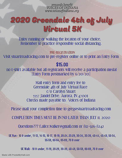 Virtual 2020 Greendale 4th of July 5K po