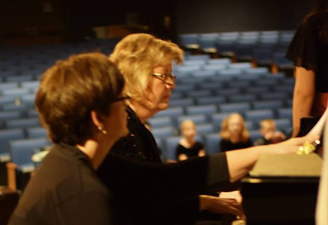 Mrs. Johnson and Mrs. Gast in rehearsal