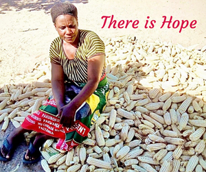 Mrs. Doreen Mukobela is sitting on her harvest and thanking Partners In Action for making it possible to put food for her family on the table.