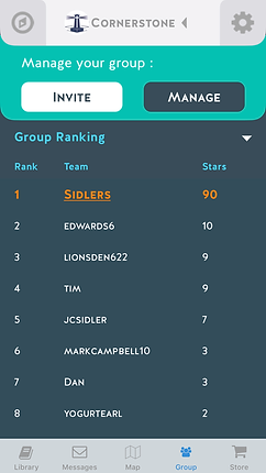 Famplify Community Group Results Screen Shot