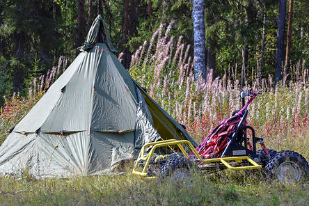 Tent during husky training week at Laplandhusky in Swedish Lapland.
