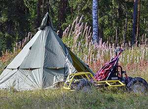 Tent during husky training week at Laplandhusky in Swedish Lapland.