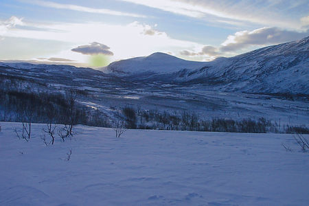 Landscape in the Swedish mountain during a husky tour in Swedish Lapland