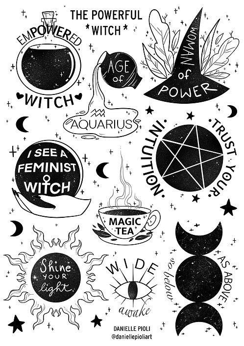 The Powerful Witch - Cartela de Adesivos