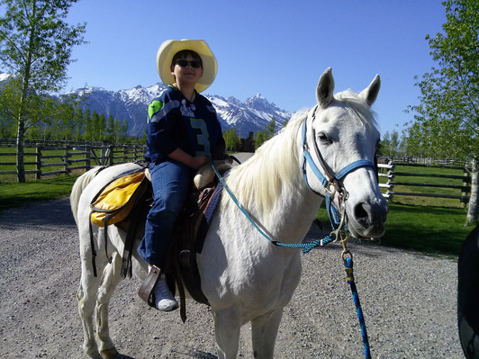 Local kid, Josh Hanson, came to visit Jackson Hole Horse Rescue. Shadow was glad to accommodate.