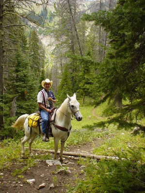 """When I go to join Shadow, 28 1/2 years from now, I want this photo on my casket. No open casket. I don't want to look dead. I want everyone to remember me when I was riding Shadow in the Mountains near Jackson Hole, Wyoming. Shadow is looking down the canyon and saying, """"We aren't going down there again, are we?"""""""