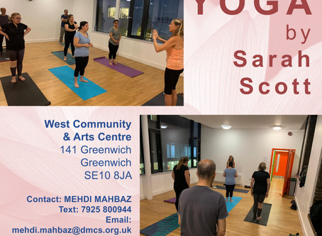 YOGA Class every Thursday 5pm - 6pm in GREENWICH.