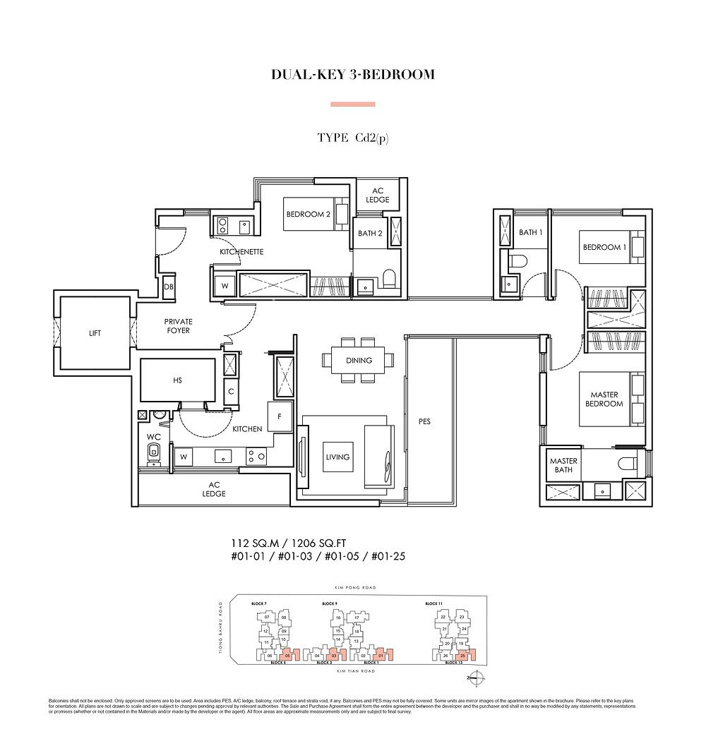 Highline Residences Dual-Key 3-Bedroom Type Cd2(p) Floor Plan