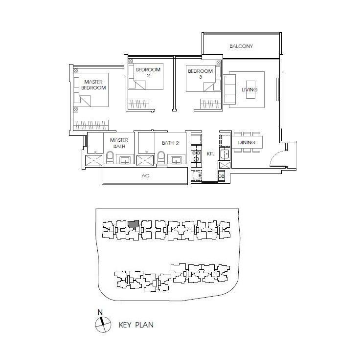 3 Bedroom Unit at The Vales Floor Plan