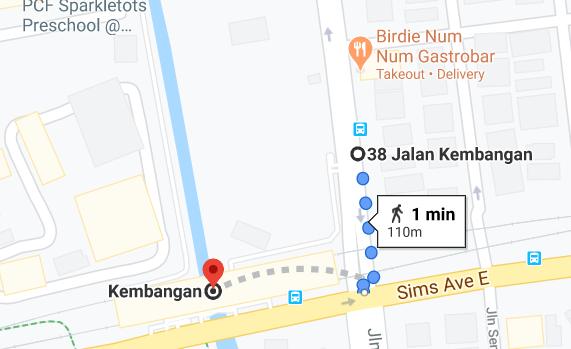 1 minute walk to Kembangan MRT