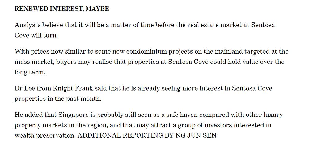 Today Online Opinions on Sentosa Cove Property Prices
