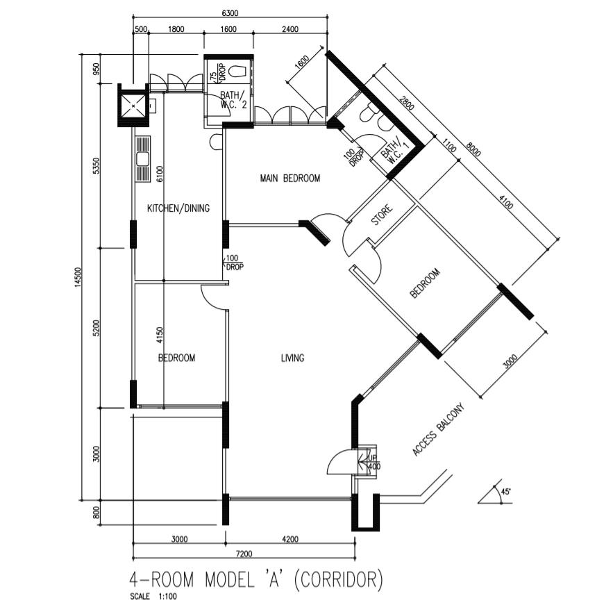 Floor Plan 4A Corridor