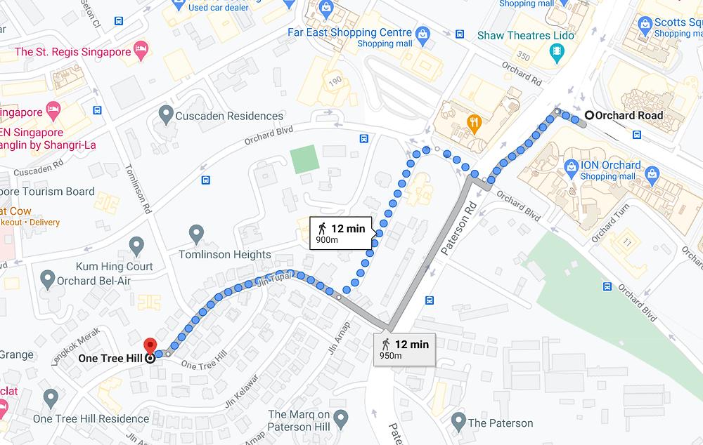 One Tree Hill Walk to Orchard MRT
