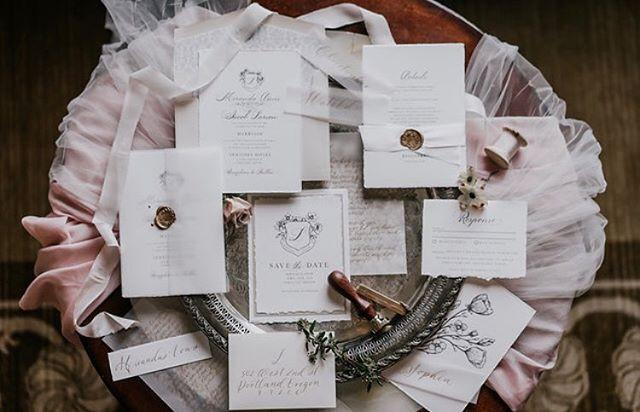 Glam Renaissance wedding invitation set
