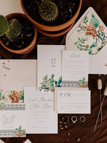 Desert Boho cactus invitation set _ Lett