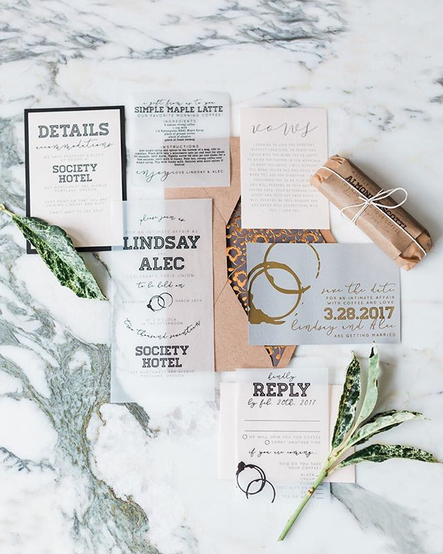 Portand Coffee Wedding Invitation Set  _