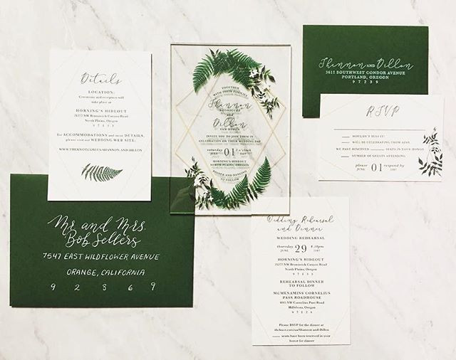 Acrylic Forest Green invitation set  _ L