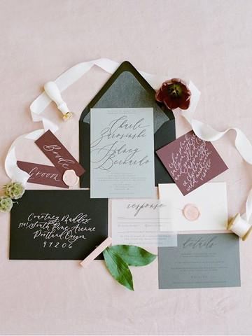 Modern Black wedding invitation set  _ L