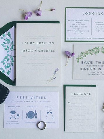 Greenery Vineyard wedding invitation set