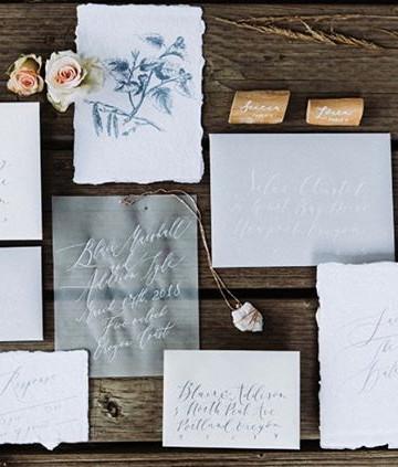 Beach vellum invitation set  _ Letters &