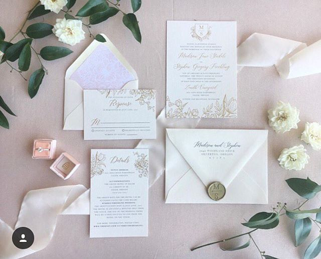 Classic gold botanical wedding invitatio