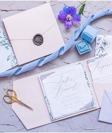 Botanical Pocket fold wedding invitation