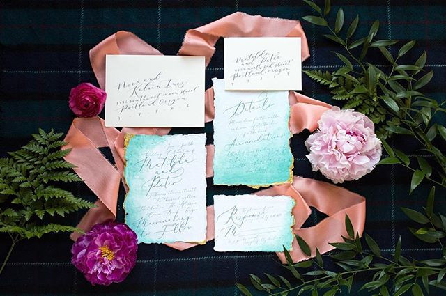 watercolor teal beach invitation set  _
