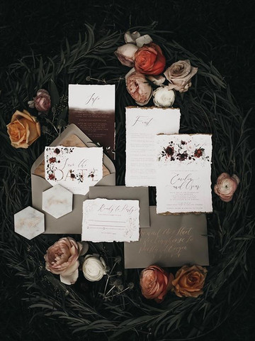 Moody boho wedding invitation set V