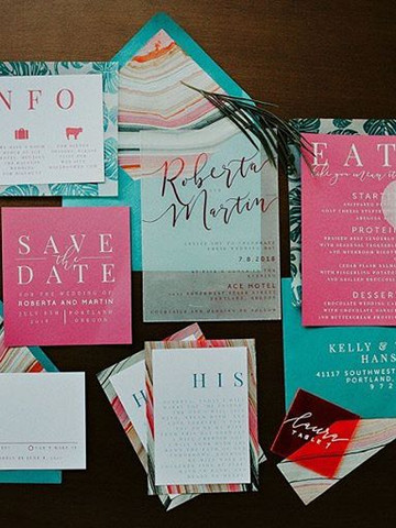 Modern bright pink and teal invitation s