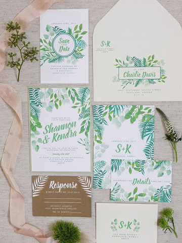 Hawaiian watercolor wedding invitation s