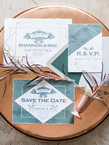 copper gin wedding Invitation set _ Lett