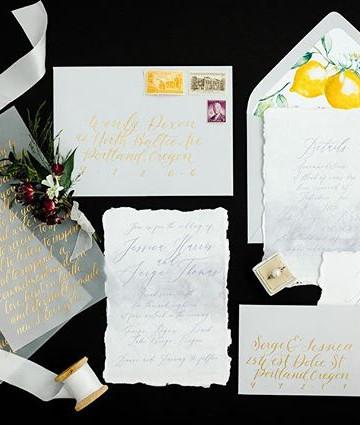 Lemon Vellum Wedding Invitation set  _ L