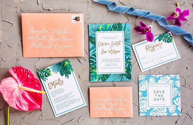 Bright Tropical wedding invitation set
