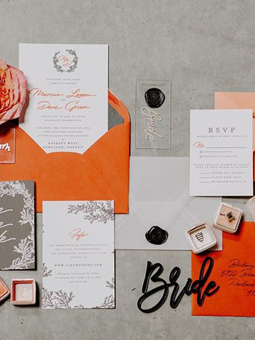 Modern Red and Orange Wedding invitation