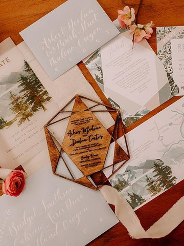 Woodsy boho Invitation set | Lasercut wo