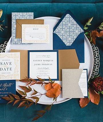 Masculine Art Deco Wedding Invitation  _