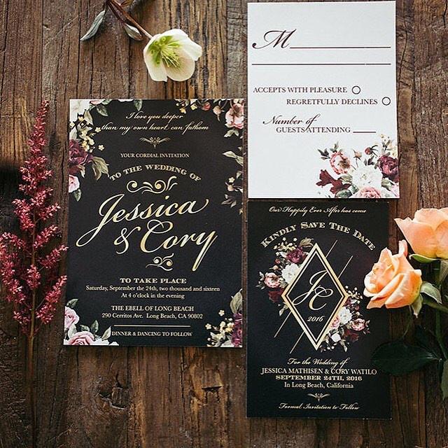 Dark glam floral wedding invitation _ Le