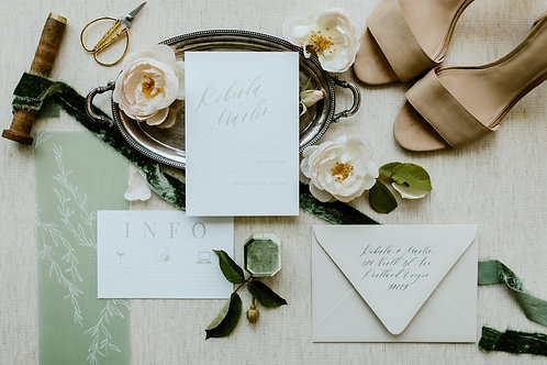 Sage & Honey Semi Custom Invitation Set